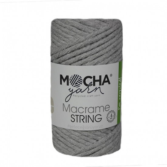 4 mm Açık Gri Makrome String İp