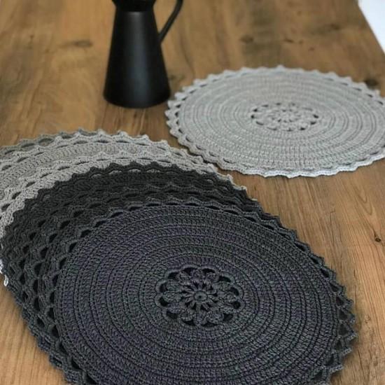 Siyah Gümüş Simli Makrome İp