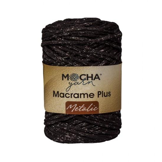 Siyah Makrome Plus Metalik İp